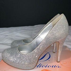Silver/glitter heels